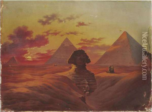 The Sphinx And The Pyramids At Giza Oil Painting - Jean-Leon Gerome