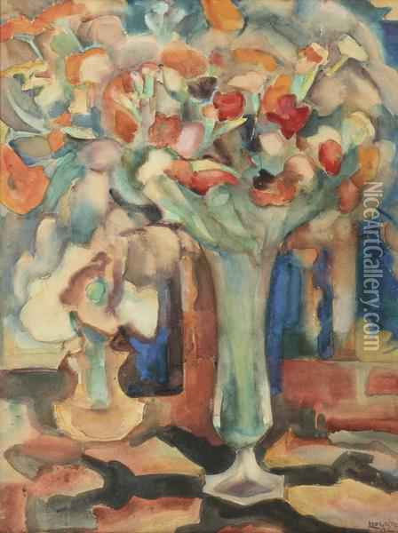 A Still Life With Flowers In A Glass Vase Oil Painting - Leo Gestel