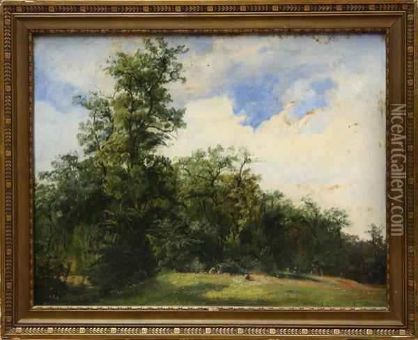 Figures In A Summer Landscape Oil Painting - Karl Michael Geyling