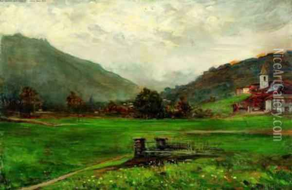 Vallata Montana E Paese Oil Painting - Giovanni Giani