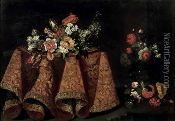 Tulips, Poppies And Various Other Flowers On A Gold Plate On Atable With A Gold Embroidered Cloth, Together With Other Flowersnearby Oil Painting - Antonio Gianlisi The Younger