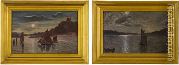 Boats Of Dunolly Castle Oil Painting - Thomas Henry Gibb