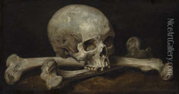 A Memento Mori With A Skull And Crossbones Oil Painting - Philips Gijsels