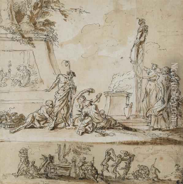 Two Scenes With Satyrs: A Sacrifice To Pan And Dancing Satyres Oil Painting - Claude Gillot