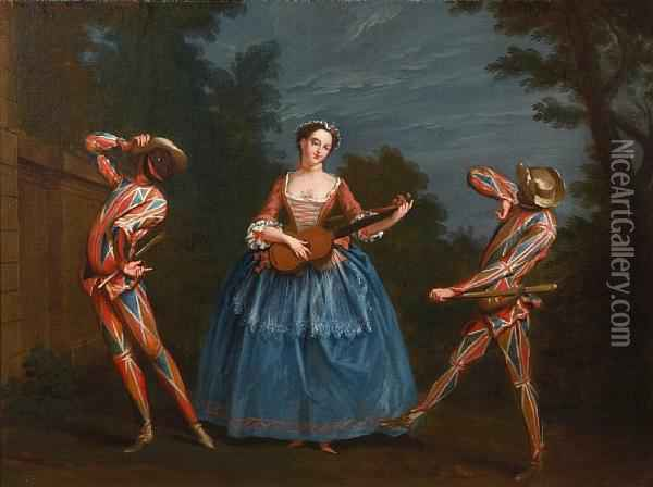 Commedia Dell'arte Figures In A Woodland Clearing Oil Painting - Claude Gillot