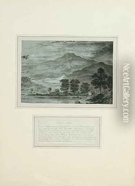 Rydal Water, Grasmere, Windermere, Cromack Water, Keswick, And Derwent Water, A Set Of Six Interesting Landscape Views, Taken From A Larger Series, Each Accompanied By A Descriptive Verse Or Text Oil Painting - William Gilpin
