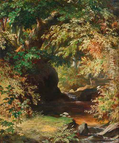 Waldbach Mitrehwild Oil Painting - Albert Graefle