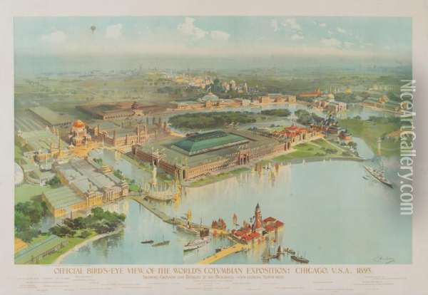 Official Bird's-eye View,  Of Theworld's Columbian Exposition,  Chicago Oil Painting - Charles S. Graham