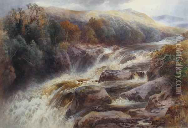 Swallow Falls, North Wales Oil Painting - Frank Gresley