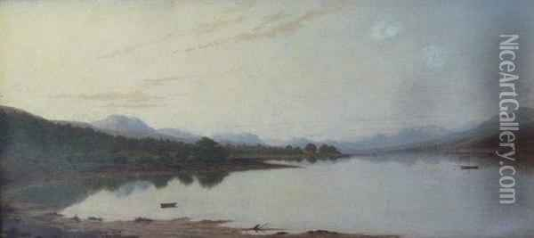 North American Lake And Mountain Landscape Oil Painting - James Grey