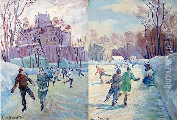 A Pair Of Paintings: 'windy Day On The Skating Rink' And 'skating In Spring' Oil Painting - Nikolay Mikhailovich Grigoriev