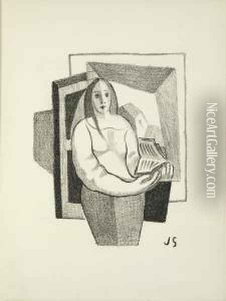 A Book Concluding With As A Wife Has A Cow Oil Painting - Juan Gris