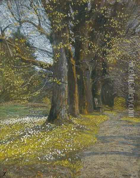 A Lime Tree Alley Oil Painting - Adolf Gross