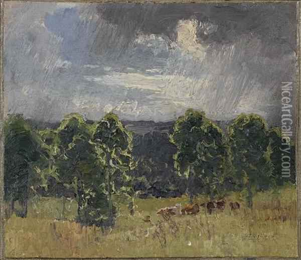 Landscape With Cattle And Storm Clouds Oil Painting - Elioth Gruner