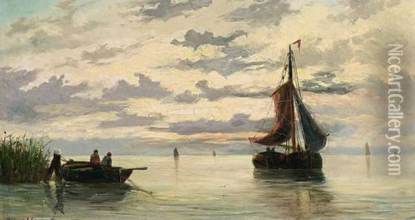 Boats In An Estuary Oil Painting - Willem Jun Gruyter