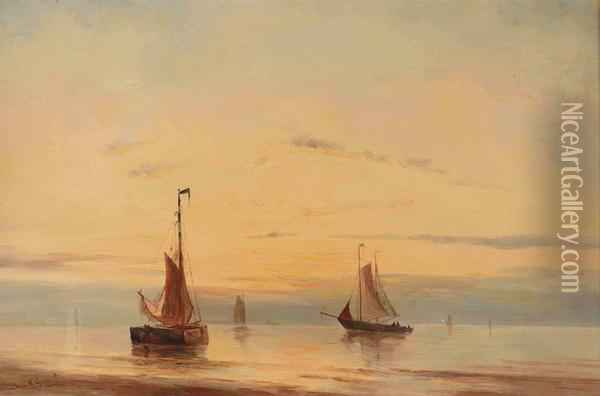 Sailing Vessels Moored At Sunset Oil Painting - Willem Jun Gruyter