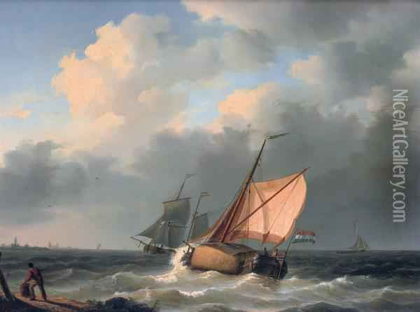 A Hay Barge On Choppy Waters Oil Painting - Willem Jun Gruyter