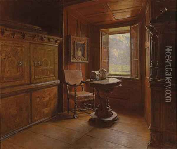 View Out Of A Window Oil Painting - Karl Friedrich Gsur