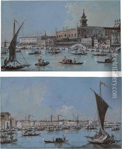 The Doge's Palace, Venice, From The Bacino; And Venice: The Zattere Oil Painting - Giacomo Guardi