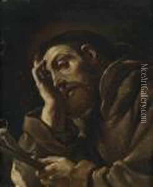 Saint Francis Meditating Oil Painting - Guercino