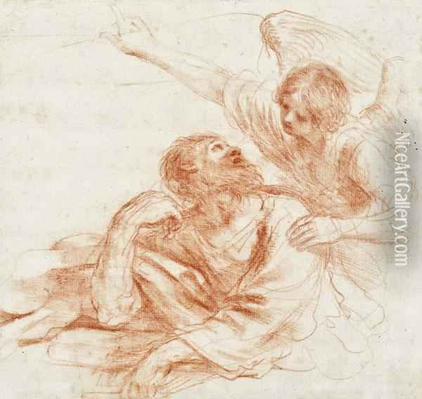 Vision Of An Angel Oil Painting - Guercino