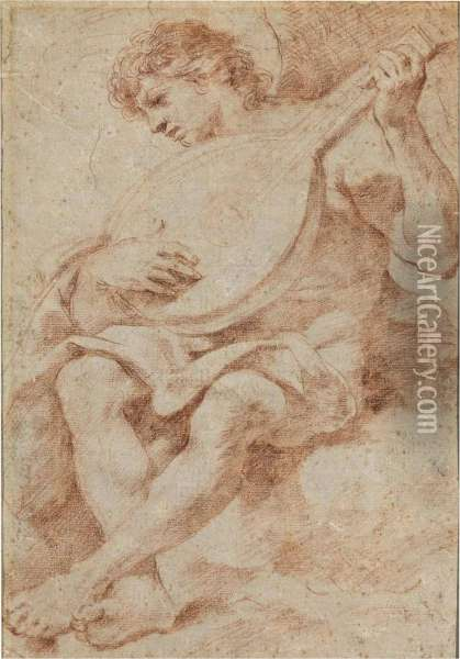 An Angel Seated On A Cloud Playing The Lute Oil Painting - Guercino