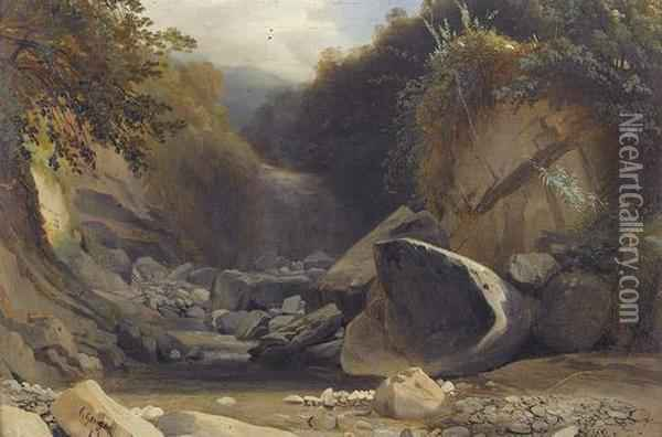 Felsige Wildbachpartie Mit Wasserfall Oil Painting - Charles Louis Guigon