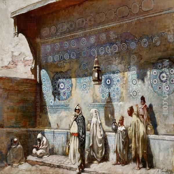 At A Fountain In Meknes, Morocco Oil Painting - Adolphe Gumery