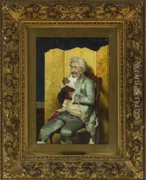 Portrait Of An Elegantly Dressed Man, Seated Reading A Book Oil Painting - Giuseppe Guzzardi