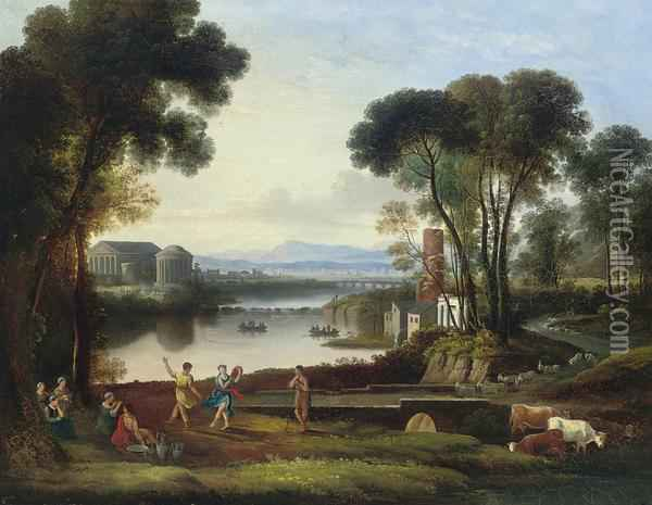 An Italianate Landscape With Classical Figures Dancing Beside A Lake Oil Painting - Jacob Philipp Hackert