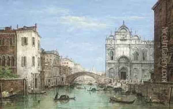 Gondolas Before The Campo San Zanipolo, Venice Oil Painting - William Haines