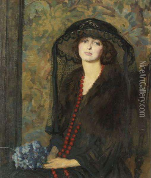 The Red Necklace Oil Painting - Philip Leslie Hale