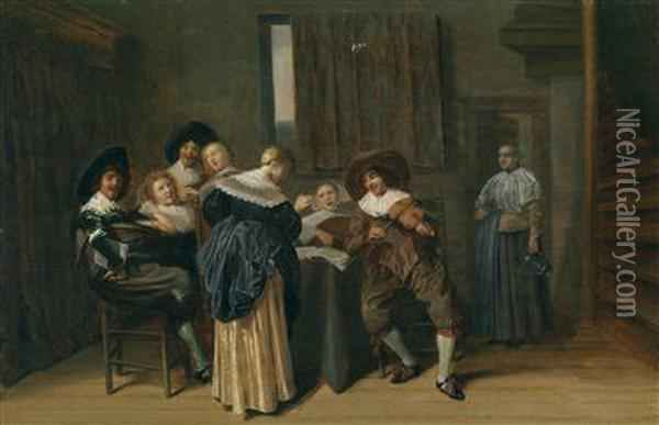 Interior With A Cheerful Group And A Violin Oil Painting - Dirck Hals