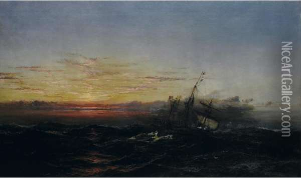 Sunset After The Gale Oil Painting - James Hamilton