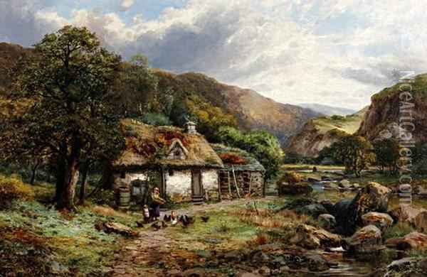 Mother And Child Feeding Hens Before A Tumbledown Thatched Cottage By A River Oil Painting - Robert John Hammond