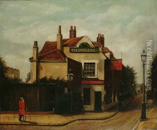 A Street Scene Thought To Be In Chelsea, Showing The Black Lion And A Chelsea Penionser Oil Painting - John Harden