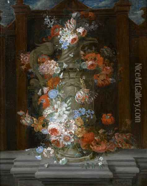 Roses, Tulips, Narcissi And Other Flowers In A Classical Urn On A Carved Stone Ledge Oil Painting - Pieter Hardime