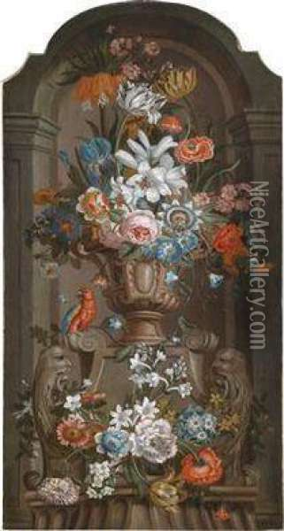 A Magnificent Still Life And A Vase Of Flowers And A Parrot In A Niche Oil Painting - Pieter Hardime