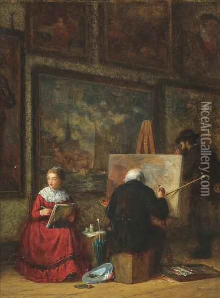 The Art Lovers Oil Painting - Frederick Daniel Hardy