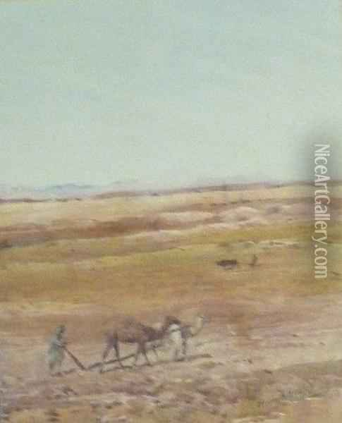 Camels, Ploughing Oil Painting - Henry Andrew Harper