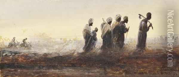 Arab Workers Returning From The Fields Oil Painting - Henry Andrew Harper