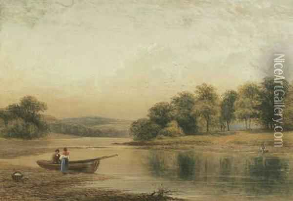 Extensive Landscape With A Lake And Figures Oil Painting - Thomas Harper