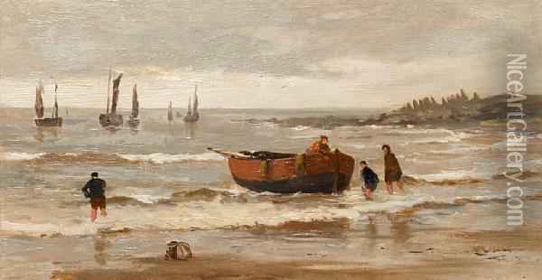 Rowing Boat And Figures On A Shore Oil Painting - William Howard Hart