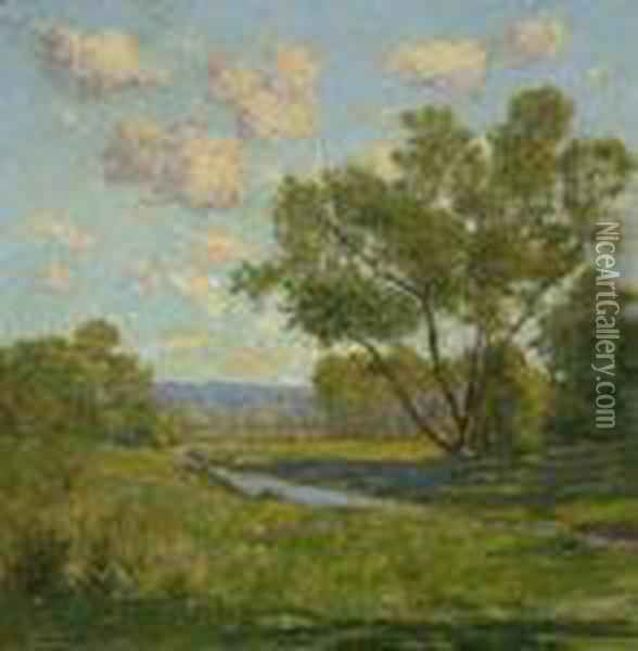 Brook In A Summer Oil Painting - William Howard Hart