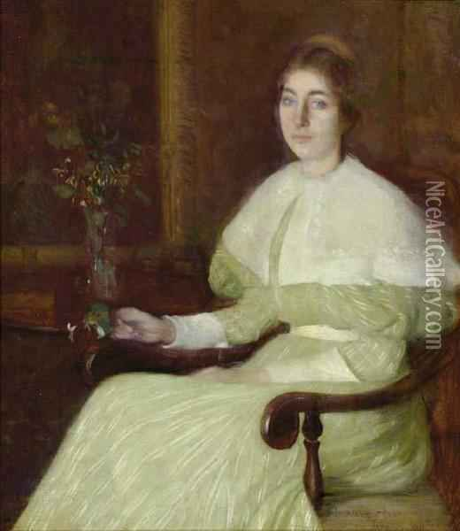 Portrait Of Adeline Pond Adams Seated In An Interior Oil Painting - William Howard Hart