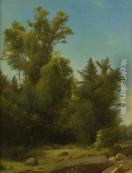A Wooded Landscape Oil Painting - William Howard Hart