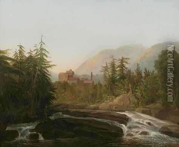 Mill By A River Oil Painting - William Howard Hart