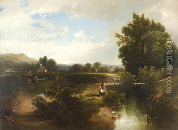 Fishing Oil Painting - William Howard Hart