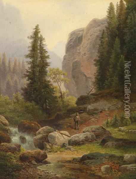 A Hunter In The High Mountains Oil Painting - Carl Hasch