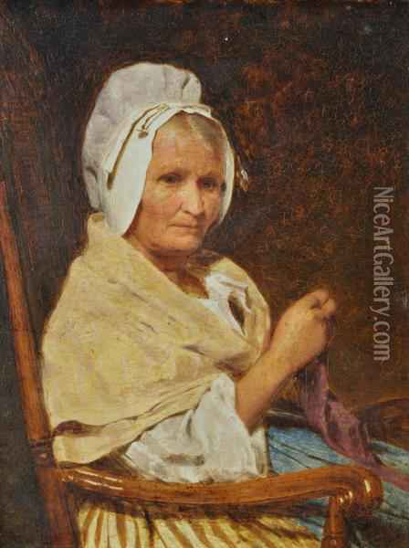 Portrait Of A Woman In A Chair Oil Painting - James Hayllar